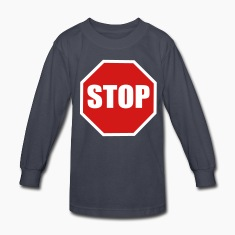 Navy a stop sign Kids' Shirts