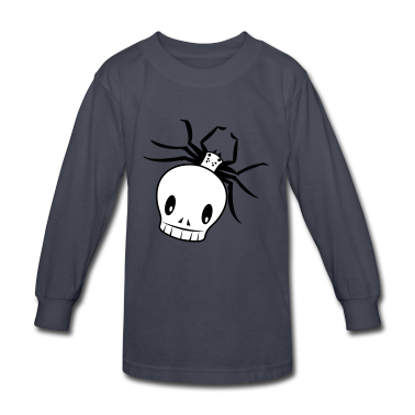 Navy a funky skull spider creepy! Kids' Shirts