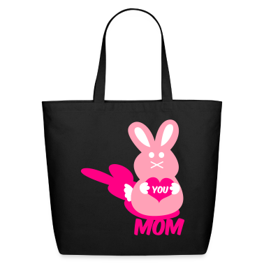 Black love you mom bunny lover rabbit cute with love heart Bags