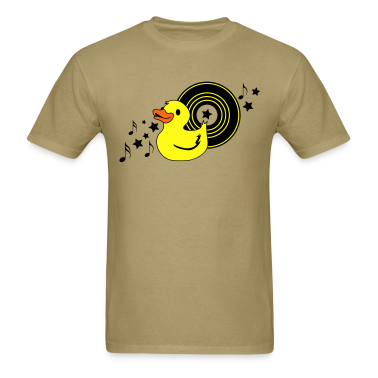Khaki rubber duckie with music record stars and funky ! T-Shirts