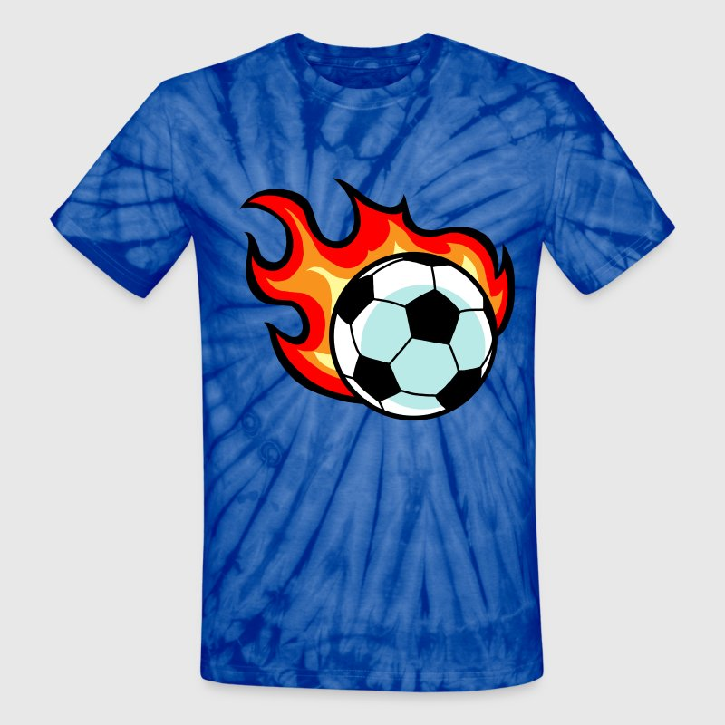 Spider baby blue Flaming Soccer Ball T-Shirts - Unisex Tie Dye T-Shirt