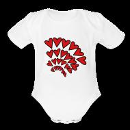 Baby & Toddler Shirts ~ Baby Short Sleeve One Piece ~ KKT 'Hearts 4 Arcs Random' Baby SS 1-Piece Tee, White
