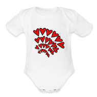 Baby Bodysuits ~ Baby Short Sleeve One Piece ~ KKT 'Hearts 4 Arcs Random' Baby SS 1-Piece Tee, White