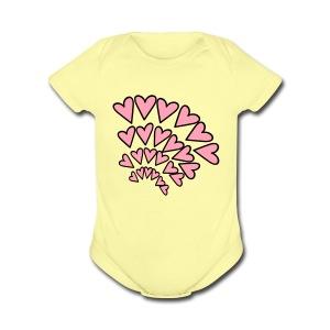 KKT 'Hearts 4 Arcs Random' Baby SS 1-Piece Tee, Azalea - Short Sleeve Baby Bodysuit