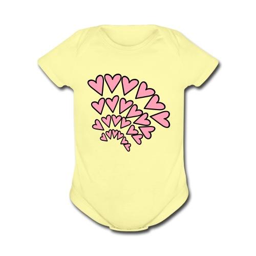 KKT 'Hearts 4 Arcs Random' Baby SS 1-Piece Tee, Azalea - Organic Short Sleeve Baby Bodysuit