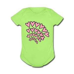 KKT 'Hearts 4 Arcs Random' Baby SS 1-Piece Tee, Mint Green - Short Sleeve Baby Bodysuit