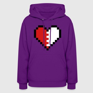 Light pink Pixel Heart Broken Hoodies - Women's Hoodie