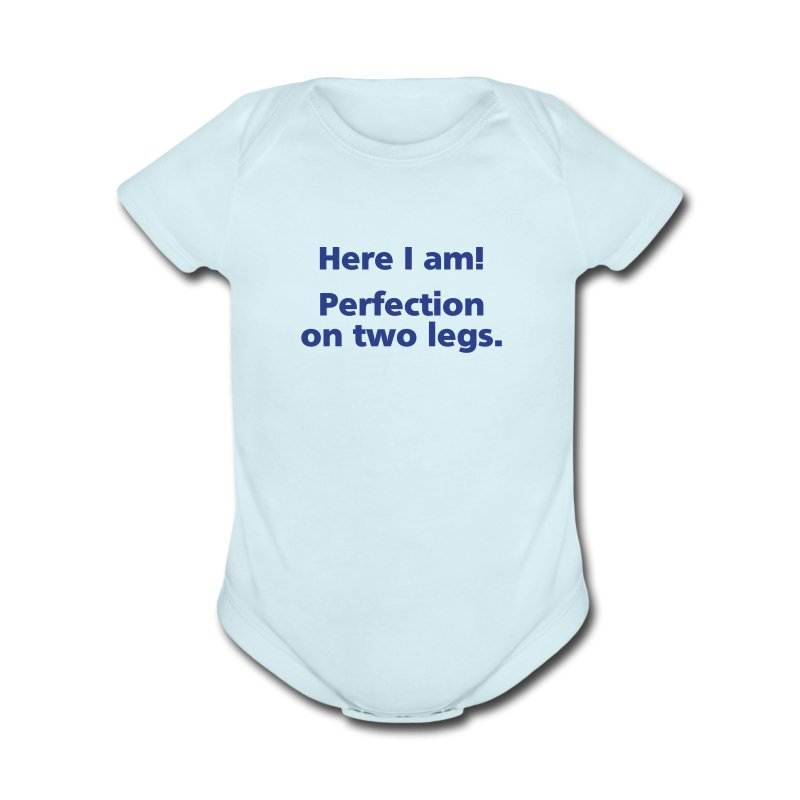 BABY BOY: Perfection on two legs - Short Sleeve Baby Bodysuit