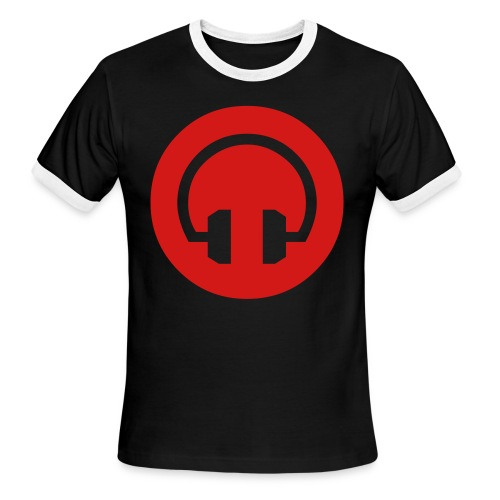 Red On Blk Headphone T for a DJ - Men's Ringer T-Shirt