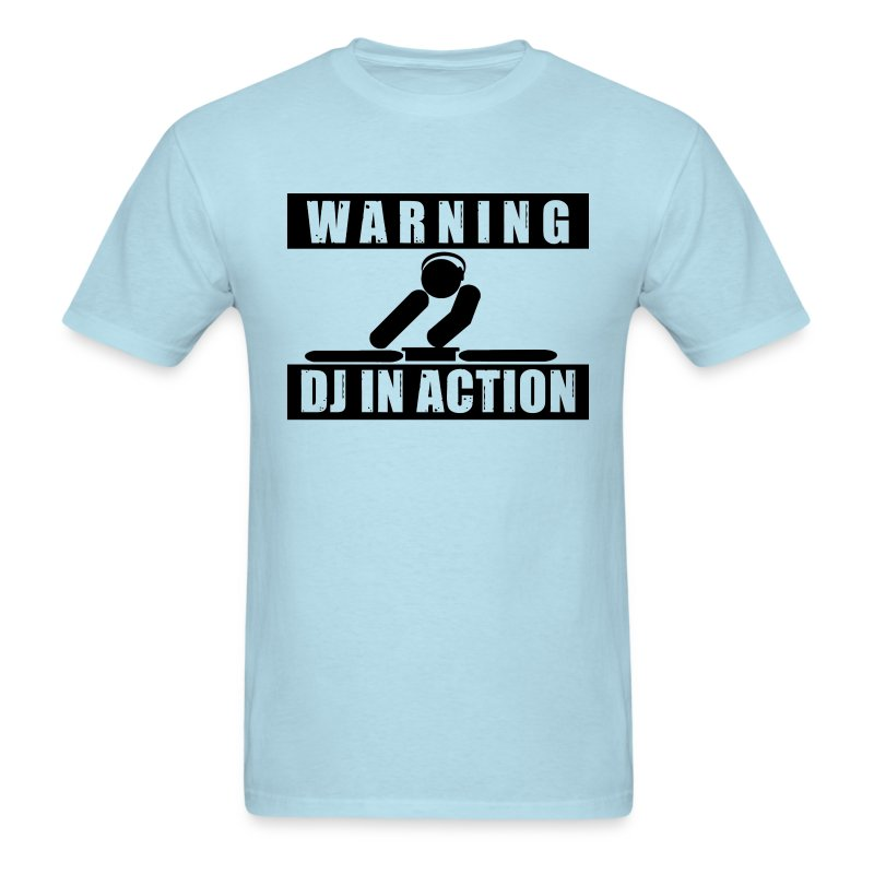 Warning DJ In Action Men's Babyblue Tee - Men's T-Shirt