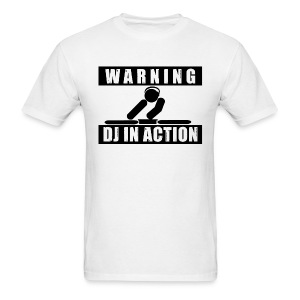 Warning DJ In Action Men's White Tee - Men's T-Shirt