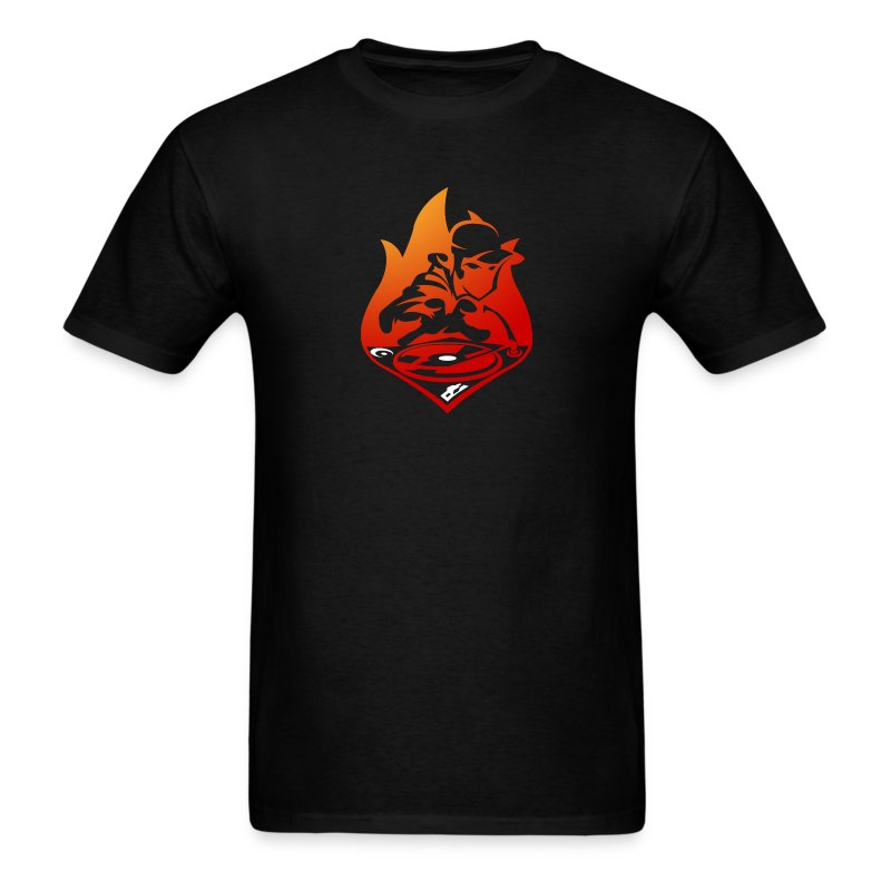 DJ On Fire! Men's Black Tee - Men's T-Shirt