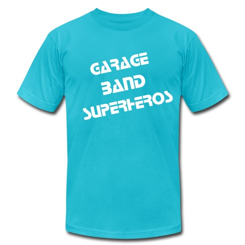 Turquoise GBS Print Flock Print - Men's Fine Jersey T-Shirt