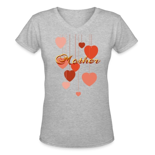 Mother 'N' Hearts - Women's V-Neck T-Shirt