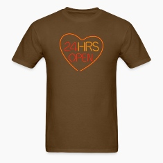 Brown neon sign: 24 hrs open heart T-Shirts
