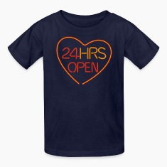 Navy neon sign: 24 hrs open heart Kids' Shirts