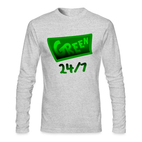 WUBT 'Green 24-7 With Shading--DIGITAL DIRECT PRINT' Men's LS AA Tee, White - Men's Long Sleeve T-Shirt by Next Level