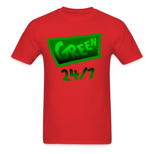 WUBT 'Green 24-7 With Shading--DIGITAL DIRECT PRINT' Men's Standard Tee, Red - Men's T-Shirt