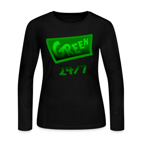 WUBT 'Green 24-7 With Shading--DIGITAL DIRECT PRINT' Women's LS Jersey Tee, Black - Women's Long Sleeve Jersey T-Shirt