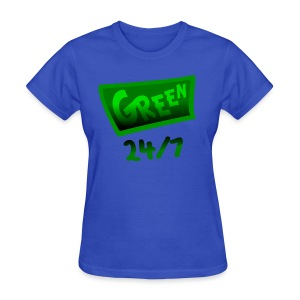 WUBT 'Green 24-7 With Shading--DIGITAL DIRECT PRINT' Women's Standard Tee, Lt Blue - Women's T-Shirt