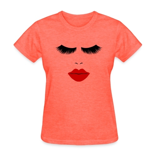 WUBT 'Fashion Face Silhouette With Red Lips--DIGITAL DIRECT PRINT' Women's Standard Tee, Deep Heather - Women's T-Shirt