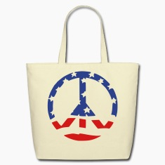 Creme peace sign Bags