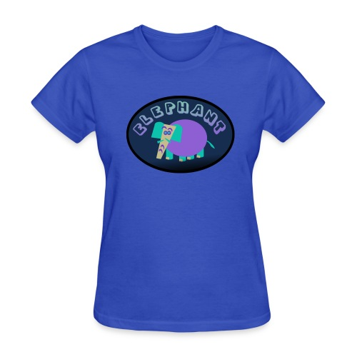 WUBT 'Colorful Elephant On Oval With Shading--DIGITAL DIRECT' Women's Standard Tee, Lt Blue - Women's T-Shirt