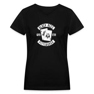 Black Aces Hockey Club - Patch - Women's V-Neck T-Shirt