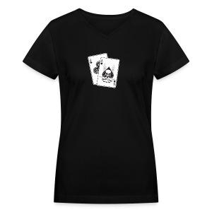 Black Aces Hockey Club - Cards - Women's V-Neck T-Shirt