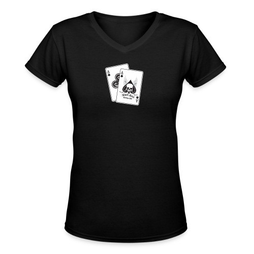 Black Aces Hockey Club - Cards - Women's V-Neck T-Shirt