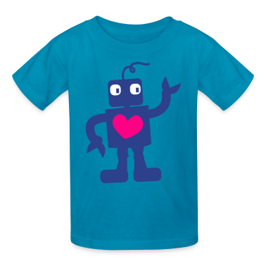 Turquoise robot cute with love heart right Kids' Shirts