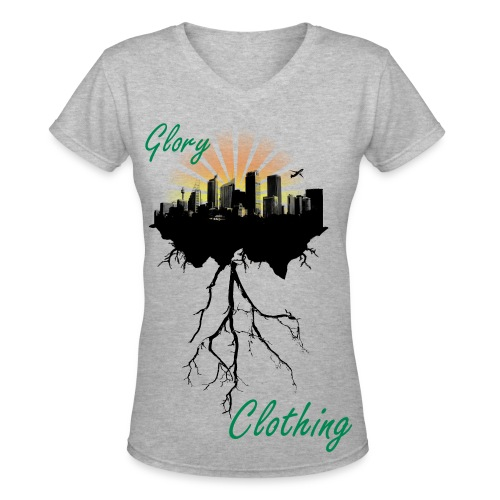 GC, Uprooted Cityscape - Women's V-Neck T-Shirt