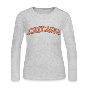 Chicago Vintage Cracked Women's Long Sleeve Jersey Tee - Women's Long Sleeve Jersey T-Shirt