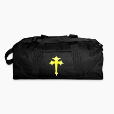 Black gothic cross with stars and funky outline Bags