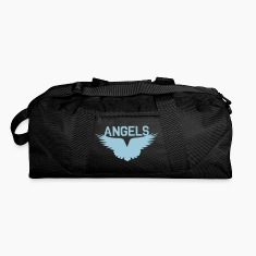 Black angels with beautiful wings flying Bags