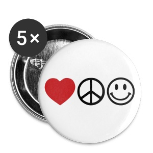 Love Peace Smile Buttons- Large 5 Pack - Small Buttons