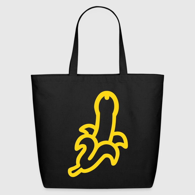 Black Freudian Banana Penis Bags  - Eco-Friendly Cotton Tote