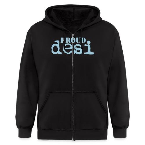 Proud Desi - Blue on Black Hooded Shirt - Men's Zip Hoodie