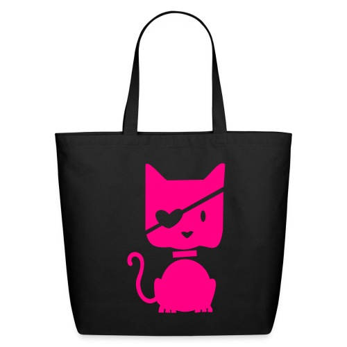 Pink pirate kitty black canvas tote bag - Eco-Friendly Cotton Tote