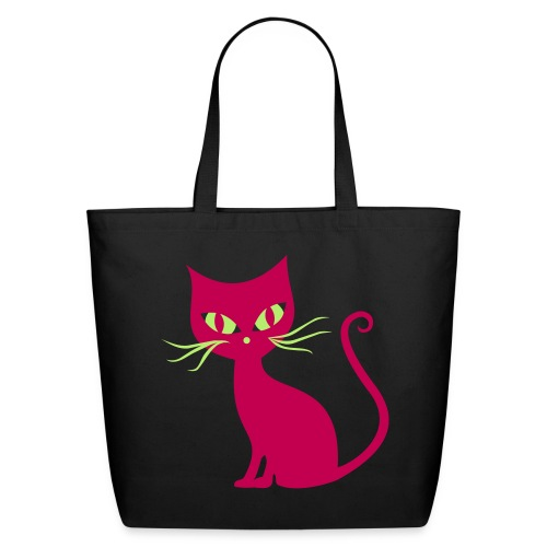 Pretty green eye pink cat canvas tote bag - Eco-Friendly Cotton Tote
