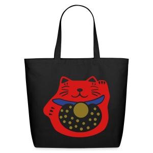 maneki neko cat black canvas tote bag - Eco-Friendly Cotton Tote