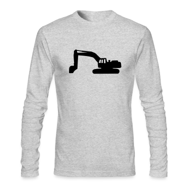 Heather grey Digger - Excavator Long Sleeve Shirts