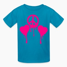 Classic pink BLEEDING PEACE SIGN with LOVE HEART s Kids' Shirts