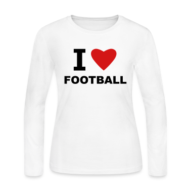 White I love Football Long Sleeve Shirts