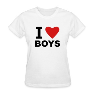 White I Love Boys Women's T-Shirts - Women's T-Shirt