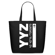 Bags & backpacks ~ Eco-Friendly Cotton Tote ~ Toronto airport code Canada  YYZ black tote beach bag