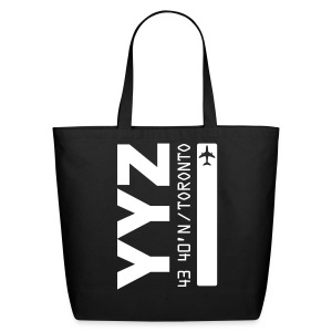Toronto airport code Canada  YYZ black tote beach bag - Eco-Friendly Cotton Tote