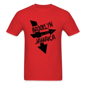 WUBT 'Brooklyn By Way Of Jamaica--DIGITAL DIRECT' Men's Standard Tee, Red - Men's T-Shirt