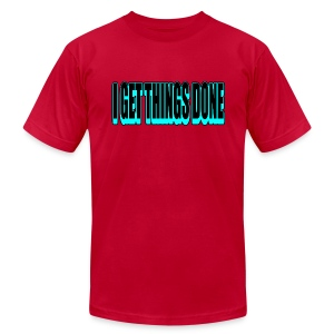 WUBT 'I Get Things Done, Blk, Blue--DIGITAL DIRECT' Men's AA Tee, Red - Men's T-Shirt by American Apparel