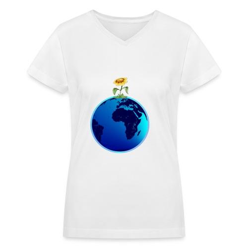 Earth and Flower - Women's V-Neck T-Shirt